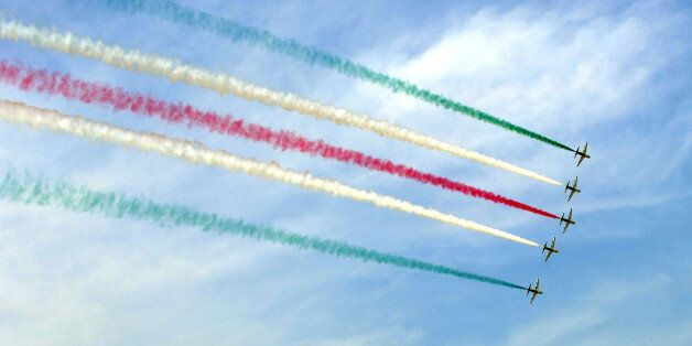 Saudi Desert Hawks pilots performs during the graduation ceremony of the 83rd batch of King Faisal Air...