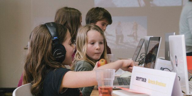 The first Cryptokids event at the Waag, learning kids about security, hacking computers, safety, encryption......