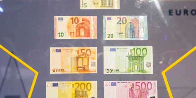 Various denominations of euro banknotes sits on display at the European Central Bank (ECB) headquarters...