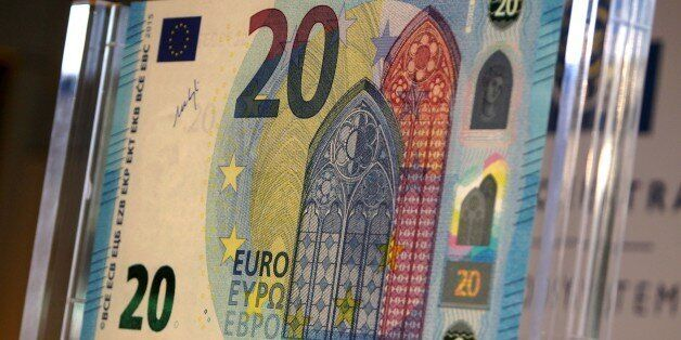 The new 20 EURO note is presented by the President of the European Central Bank, ECB in Frankfurt am...