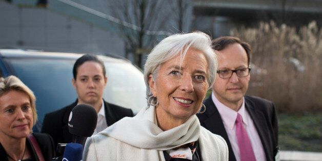 Christine Lagarde, managing director of the International Monetary Fund (IMF), arrives for an emergency...