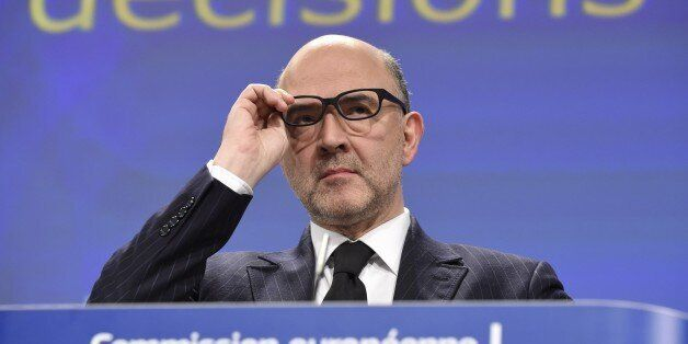 EU economic and financial affairs commissioner Pierre Moscovici gives a press conference on February...