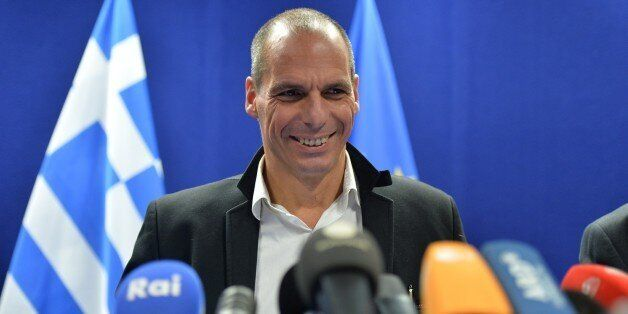 BRUSSELS, BELGIUM - FEBRUARY 20: Greek Finance Minister Yanis Varoufakis holds a press conference after...
