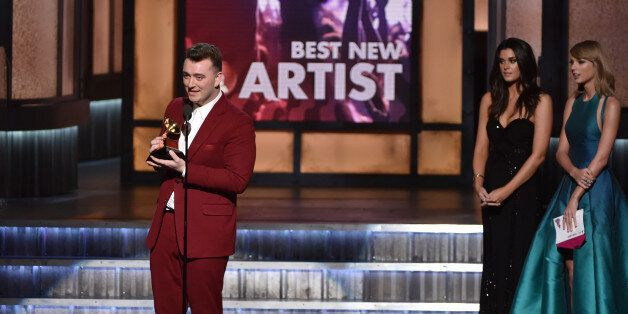 LOS ANGELES, CA - FEBRUARY 08: Singer-songwriter Sam Smith speaks onstage during The 57th Annual GRAMMY...