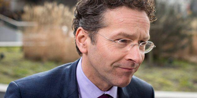 Jeroen Dijsselbloem, Dutch finance minister and president of the Eurogroup, arrives for an emergency...