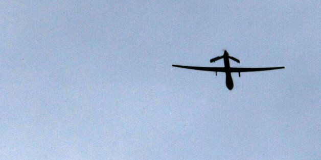 (FILES) File photo dated January 1, 2009 shows a US 'Predator' drone passing overhead at a forward operating...