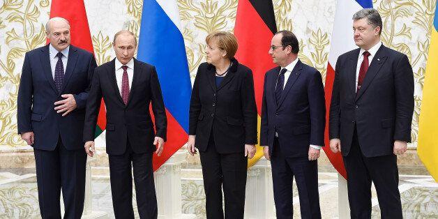 MISNK, BELARUS - FEBRUARY 11: (L to R) Belarus President Alexander Lukashenko, Russian President Vladimir...