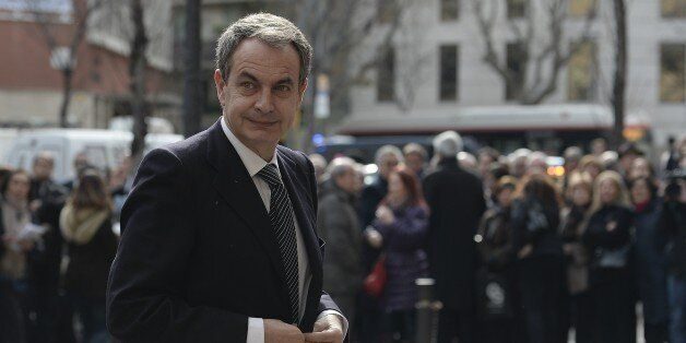 Spanish former President Jose Luis Rodriguez Zapatero arrives for the funeral ceremony for the late president...