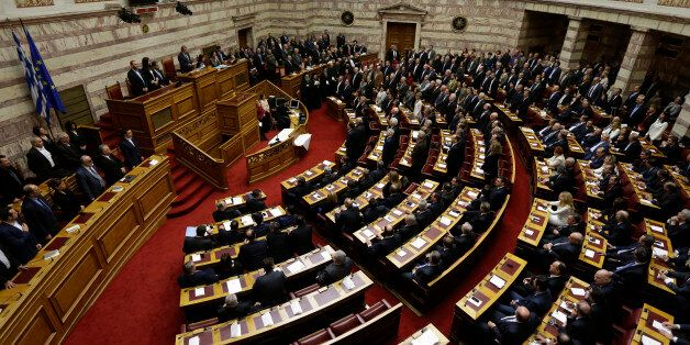 Lawmakers elected in Greece's Jan. 25 national elections are sworn in taking a secular oath at the first...
