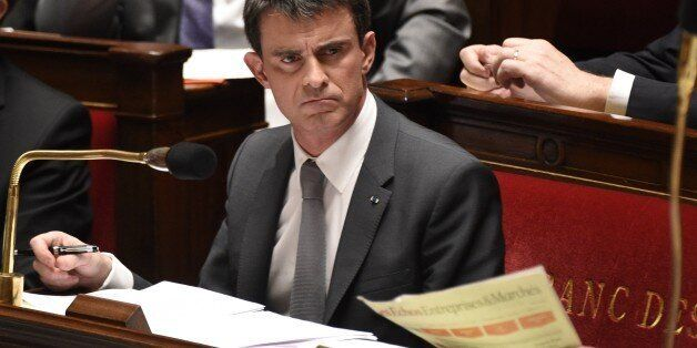 French Prime minister Manuel Valls is pictured during the debate held prior to parliamentary vote of...