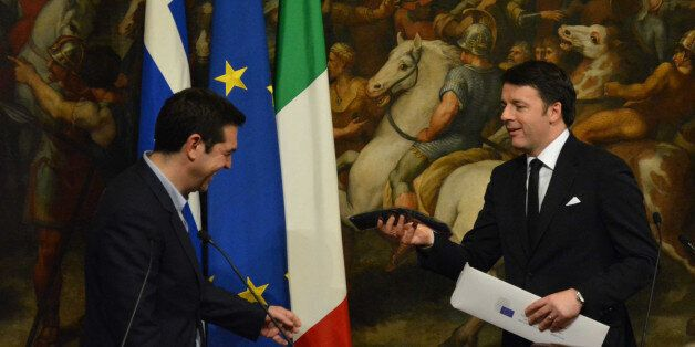 ROME, ITALY - FEBRUARY 03: Italian Prime Minister Matteo Renzi (R) and newly elected Greece's Prime Minister...