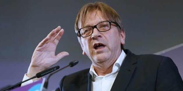 Guy Verhofstadt, former Belgium prime minister (1999-2008), gives a speech after Drancy's mayor and member...