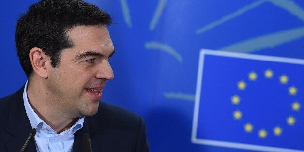 Greek Prime Minister Alexis Tsipras gives a press conference on February 4, 2015 after his meeting with...