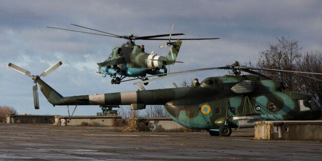 Helicopters seen at a military base of the Ukrainian government army in Kramatorsk, Donetsk region, eastern...