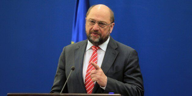 European Parliament President Martin Schulz speaks during a joint press conference with Palestinian prime...