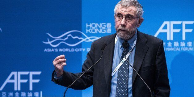 Nobel Prize-winning economist Paul Krugman delivers a speech at the Asian Financial Forum in Hong Kong...