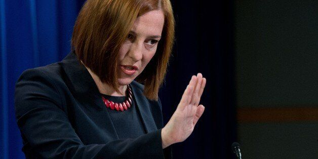 US State Department spokeswoman Jen Psaki speaks at the daily briefing at the State Department in Washington,DC...