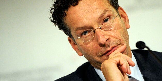 Chairman of the so-called Eurogroup of finance ministers Jeroen Dijsselbloem speaks at a meeting, in...
