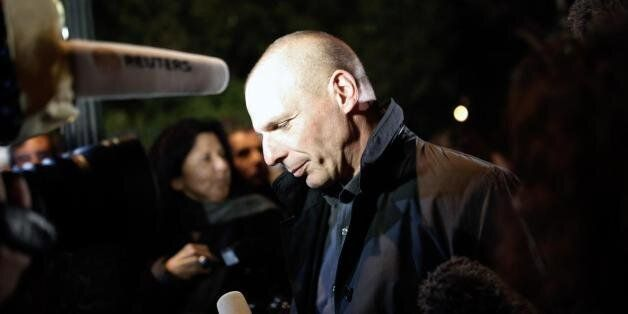Greece's new finance minister Yanis Varoufakis speaks during his meeting with British Finance Minister...