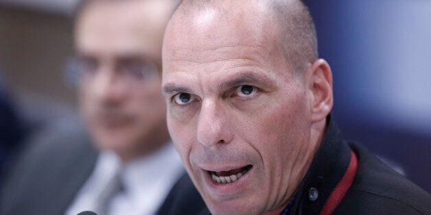 Greece's new Finance Minister Yanis Varoufakis makes statements during a handover ceremony at the Finance...