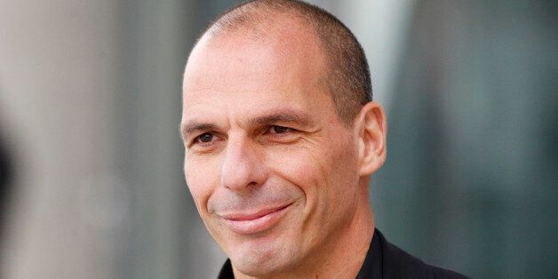 Greek Finance Minister Yanis Varoufakis leaves the European Central Bank after a meeting with the President...