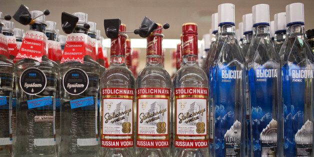 Bottles of Stolichnaya Russian vodka sit on a shelf inside a Dixy supermarket operated by OAO Dixy Group...