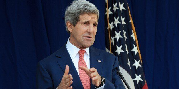 US Secretary of State John Kerry speaks during a press conference in Lagos January 25, 2015. US Secretary...