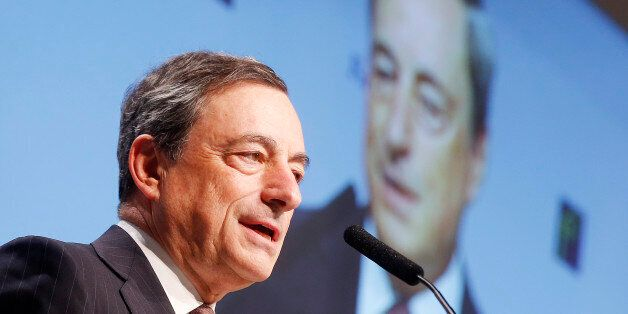 FILE - In this Nov. 21, 2014 file photo, European Central Bank President Mario Draghi delivers a speech...