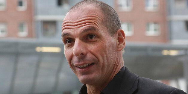 FRANKFURT AM MAIN, GERMANY - FEBRUARY 04: Greek Finance Minister Yanis Varoufakis speaks to journalists...
