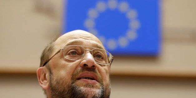 European Parliament President Martin Schulz addresses the members of the European Parliament to commemorate...