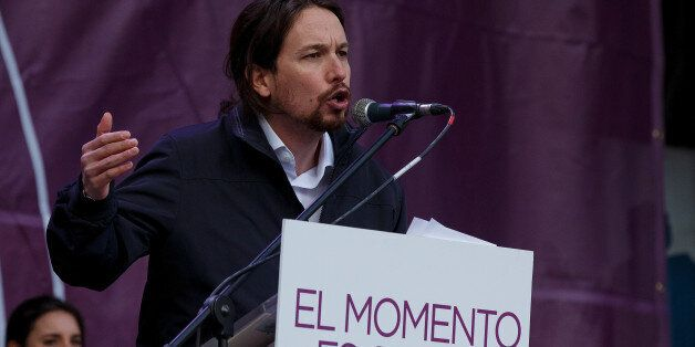 MADRID, SPAIN - JANUARY 31: Leaders of Podemos (We Can) Pablo Iglesias speaks on stage at the end of...