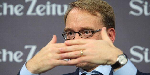 Jens Weidmann, president of the Deutsche Bundesbank, gestures at the Suddeutsche Zeitung economic summit...