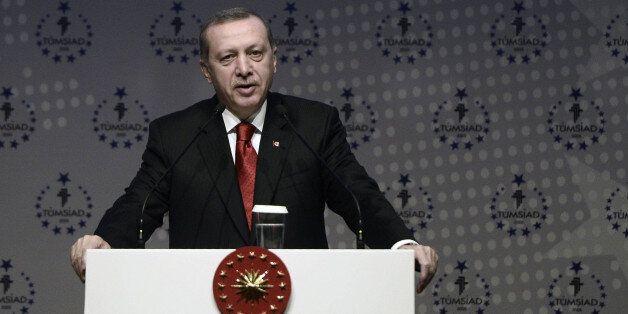 ISTANBUL, TURKEY - JANUARY 31: Turkish president Recep Tayyip Erdogan speaks during plenary session of...