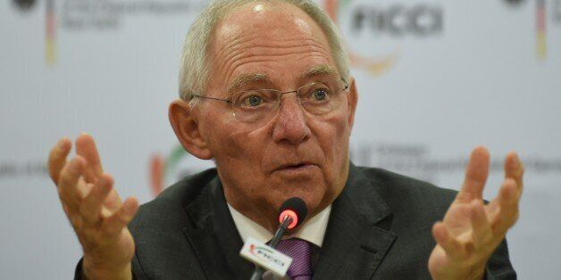 German Finance Minister Wolfgang Schauble delivers his address during a function entitled 'Europe and...