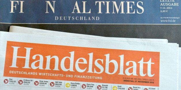 HAMBURG, GERMANY - DECEMBER 07: The final issue of the Financial Times Deutschland daily newspaper is...