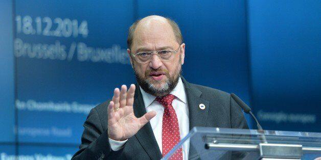BRUSSELS, BELGIUM -DECEMBER 18: European Parliament President Martin Schulz attends a press conference...