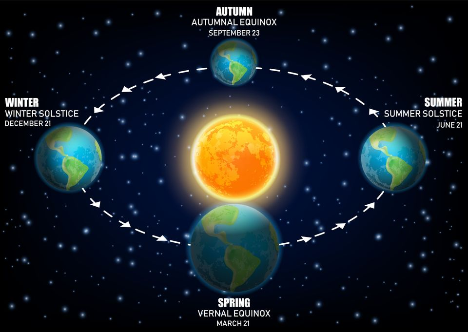 Vector diagram illustrating Earth seasons. Autumnal and vernal equinoxes, winter and summer solstices