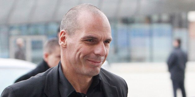 Greek Finance Minister Yanis Varoufakis arrives at the European Central Bank in Frankfurt, Germany Wednesday,...