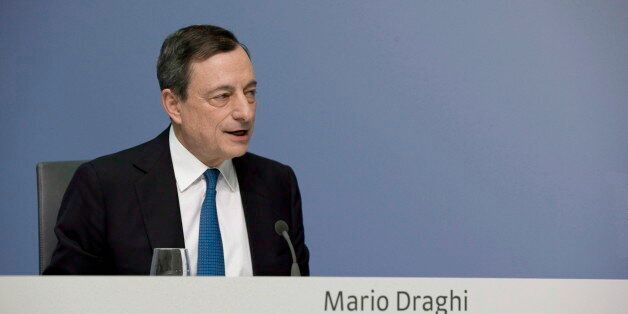 GERMANY, FRANKFURT - JANUARY 22: Mario Draghi, president of the European Central Bank (ECB), during...