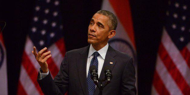 NEW DELHI, INDIA - JANUARY 27: U.S. President Barack Obama addresses at Siri Fort Auditorium on January...