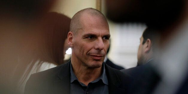 New Greek Finance Minister Yanis Varoufakis is seen after a swearing in ceremony at the Presidential...