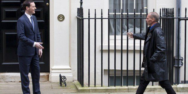 Britain's Finance Minister George Osborne (L) meets Greek Finance Minister Yanis Varoufakis outside 11...