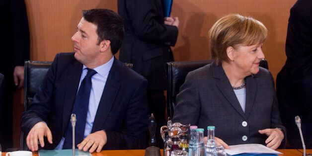 BERLIN, GERMANY - MARCH 17: German Chancellor Angela Merkel (R) and Italian Prime Minister Matteo Rentzi...