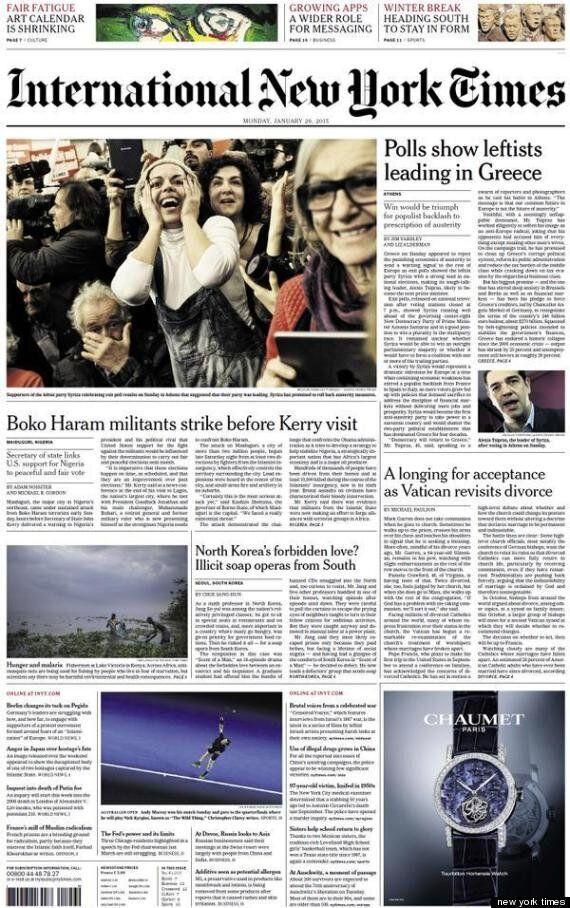 Τα πρωτοσέλιδα των διεθνών μέσων ενημέρωσης για τη νίκη του Αλέξη