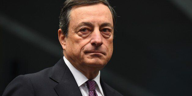 European Central Bank President Mario Draghi attends a Eurogroup meeting at the European Council in Brussels,...