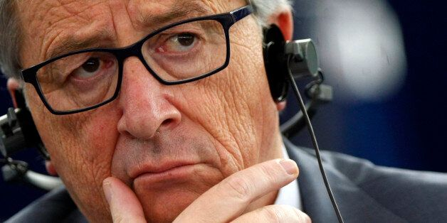 President of the European Commission Jean Claude Juncker listens to the debates during a session at the...