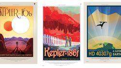 Vintage ταξιδιωτικές αφίσες της NASA σας προσκαλούν σε...εξωπλανήτες με διπλά