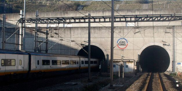 A Eurostar train heading to London enters the Channel tunnel to England in Coquelles, northern France,...