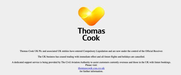 Mensaje de cierre de Thomas Cook en su