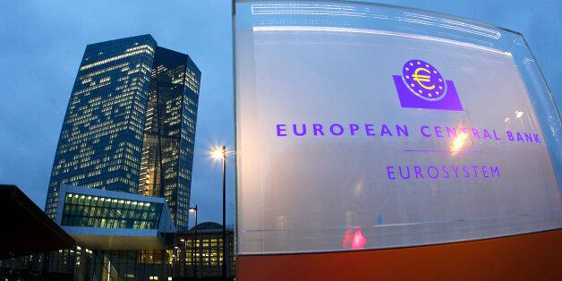 In this picture taken with a fisheye lens the new headquarters of the European Central Bank is photographed...